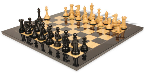 """New Exclusive Staunton Chess Set Ebony & Boxwood Pieces with Black & Ash Burl Chess Board - 3.5"""" King"""