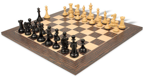 """New Exclusive Staunton Chess Set Ebony & Boxwood Pieces with Tiger Ebony Deluxe Chess Board - 3.5"""" King"""