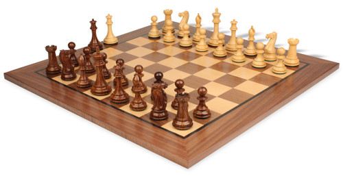 "New Exclusive Staunton Chess Set Golden Rosewood & Boxwood Pieces with Classic Walnut Chess Board - 4"" King"