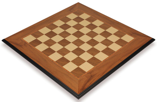 "Walnut & Maple Molded Edge Chess Board - 1.75"" Squares"