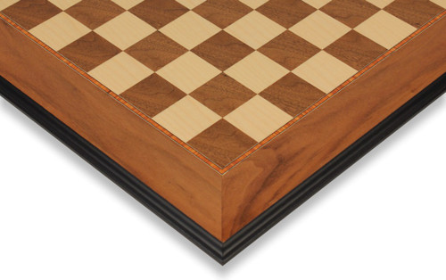 "Walnut & Maple Molded Edge Chess Board - 2.375"" Squares"