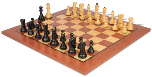 "Yugoslavia Staunton Chess Set Ebonized & Boxwood Pieces with Classic Mahogany Chess Board - 3.25"" King"