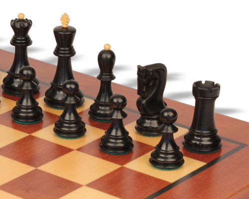 "Yugoslavia Staunton Chess Set Ebonized & Boxwood Pieces with Classic  Mahogany  Chess Board - 3.875"" King"