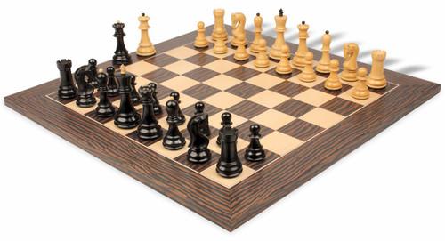 """Yugoslavia Staunton Chess Se Ebony & Boxwood Pieces with Tiger Ebony Deluxe Chess Board - 3.875"""" King"""