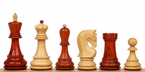 "Yugoslavia Staunton Chess Set Padauk and Boxwood Pieces 3.875"" King"