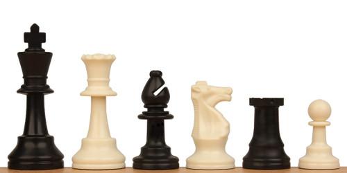 "Standard Club Plastic Chess Set Black & Ivory Pieces - 3.75"" King"