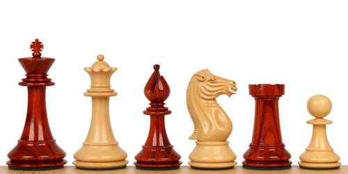 """Pershing Staunton Chess Set in African Padauk & Boxwood - 4.25"""" King"""