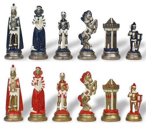Mary Stuart Queen of Scots Theme Hand Painted Metal Chess Set by Italfama