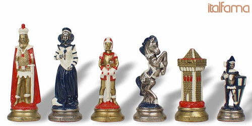Mary Stuart Queen of Scots Theme Chess Set with Brass & Nickel Hand Painted Pieces by Italfama