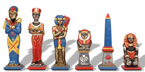 Large Egyptian Theme Chess Set with Brass & Nickel Hand Painted Pieces by Italfama