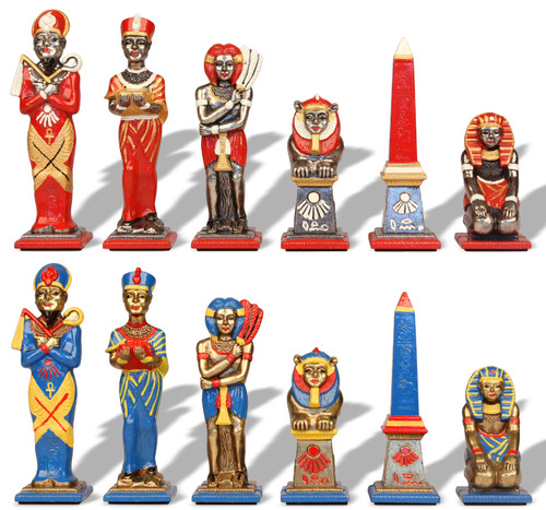 Large Egyptian Hand Painted Metal Theme Chess Set by Italfama