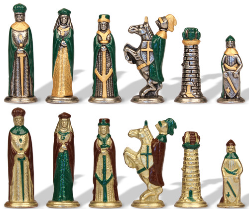 Small Medieval Theme Hand Painted Metal Chess Set by Italfama
