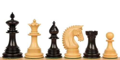 "Patton Staunton Chess Set Ebony and Boxwood Pieces 4.25"" King"
