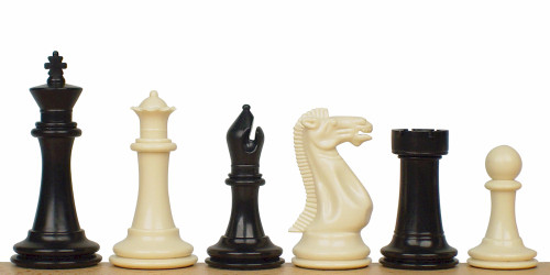 "Executive Plastic Chess Set Black & Ivory Pieces - 3.875"" King"