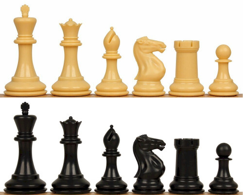 "Conqueror Plastic Chess Set Black & Camel Pieces - 3.75"" King"