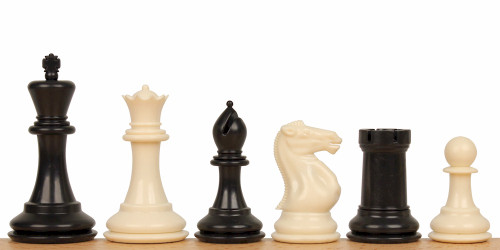 "Conqueror Plastic Chess Set Black & Ivory Pieces - 3.75"" King"