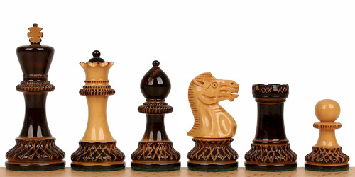 "Parker Staunton Chess Set Burnt Boxwood and Boxwood Pieces 3.75"" King"