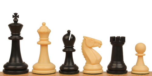 "Guardian Plastic Chess Set Black & Camel Pieces - 4"" King"