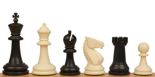 "Guardian Plastic Chess Set Black & Ivory Pieces - 4"" King"