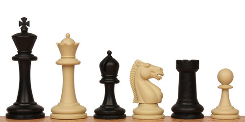 "Master Plastic Chess Set Black & Tan Pieces - 3.75"" King"