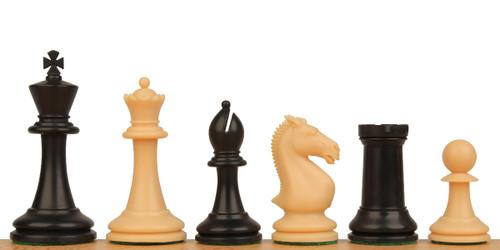 """Protourney Plastic Chess Set Black & Camel Pieces - 3.75"""" king"""