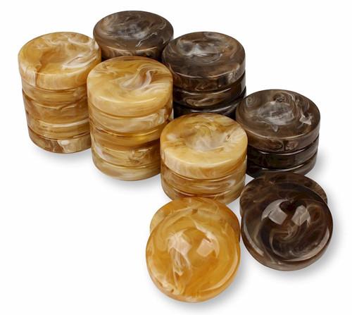 "Marblized Backgammon Chips Brown & Butterscotch - 1.75"""