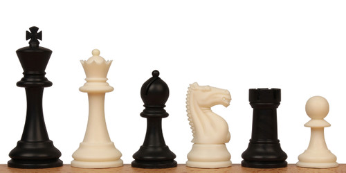 "ClubTourney Plastic Chess Set  Black & Ivory Pieces  - 3.75"" King"