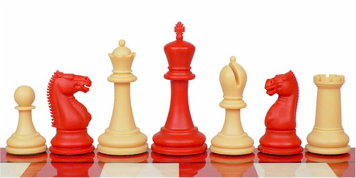 "Zukert Plastic Chess Set Red & Camel Pieces - 4.25"" King"