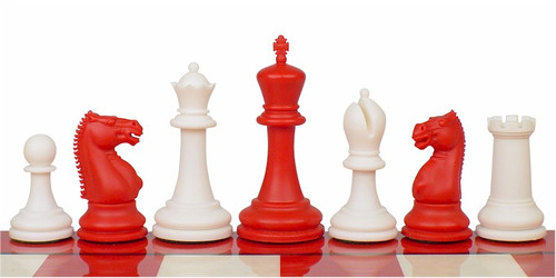 "Zukert Plastic Chess Set Red & Ivory Pieces - 4.25"" King"