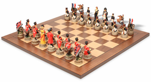 Battle of Waterloo Theme Chess Set with Classic Walnut & Maple Chess Board