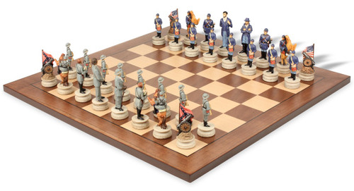 Civil War Theme Chess Set with Classic Walnut & Maple Chess Board
