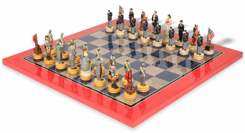Civil War II Theme Chess Set with Civil War Deluxe Chess Board
