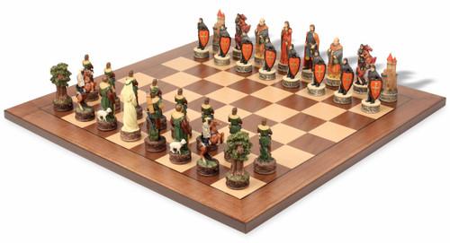 Robin Hood Theme Chess Set with Classic Walnut & Maple Chess Board
