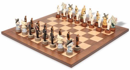 Pearl Harbor Theme Chess Set with Classic Walnut & Maple Chess Board