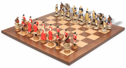 American Revolutionary Theme Chess Set with Classic Walnut & Maple Chess Board