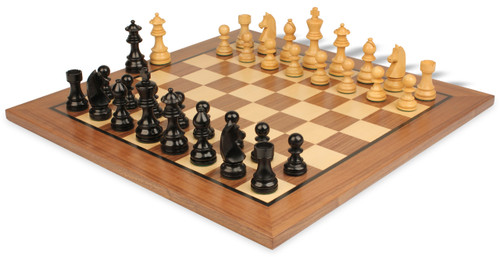 "German Knight Staunton Chess Set Ebonized and Boxwood Pieces 2.75"" King with Walnut Chess Board View 1"