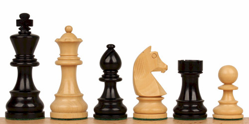 "German Knight Staunton Chess Set Ebonized and Natural Boxwood Pieces 3.25"" King"