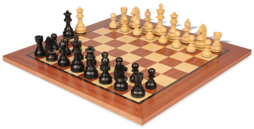 "German Knight Staunton Chess Set Ebonized and Boxwood Pieces 3.25"" King with Mahogany Chess Board View"