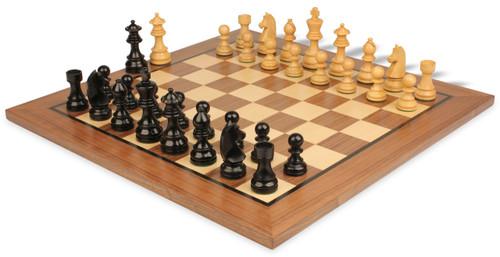 "German Knight Staunton Chess Set Ebonized and Boxwood Pieces 3.25"" King with Walnut Chess Board View 1"