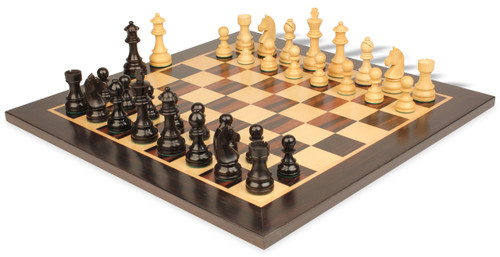 "German Knight Staunton Chess Set Ebonized and Boxwood Pieces 3.75"" King with Macassar Ebony Chess Board View 1"