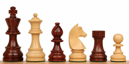 "German Knight Staunton Chess Set Rosewood and Boxwood Pieces 2.75"" King"