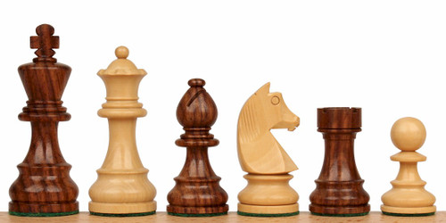"German Knight Staunton Chess Set Golden Rosewood and Boxwood Pieces 2.75"" King"