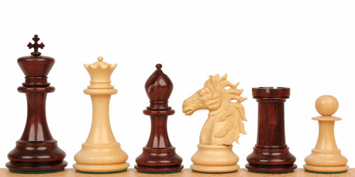 "Alexander's Stallion Staunton Chess Set in Red Sandalwood & Boxwood - 4.4"" King"
