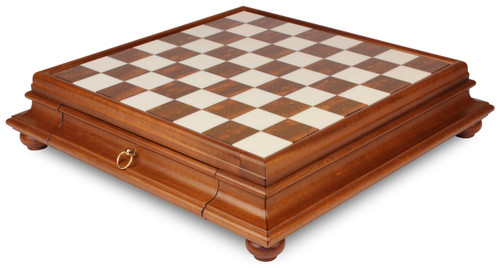 Alabaster & Wood Chess Case by Italfama
