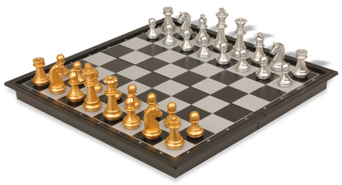 """The Chess Store Gold & Silver Folding Magnetic Travel Chess Set - 9.75"""""""