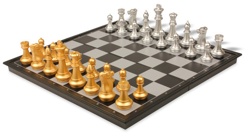 """The Chess Store Gold & Silver Folding Magnetic Travel Chess Set - 14"""""""