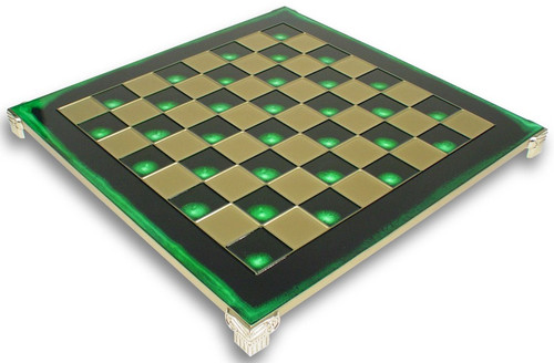"Brass & Green Chess Board - 1.375"" Squares"