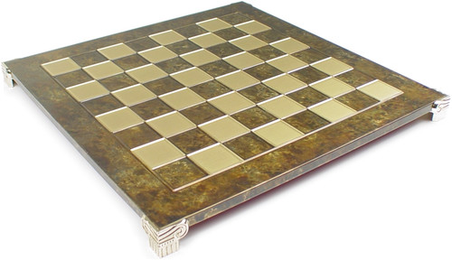 """Brass & Brown Chess Board - 1.75"""" Squares"""