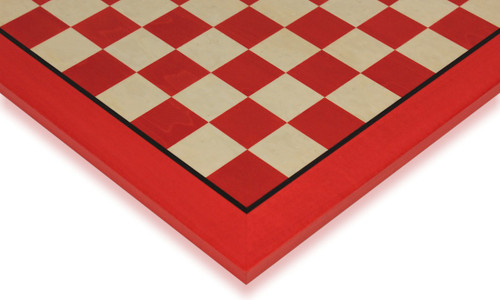 "Tulip Red & Erable High Gloss Deluxe Chess Board - 1.75"" Squares"