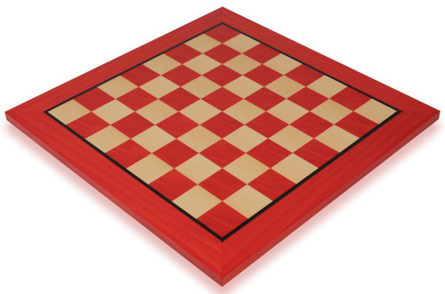 "Tulip Red & Maple High Gloss Deluxe Chess Board - 1.75"" Squares"